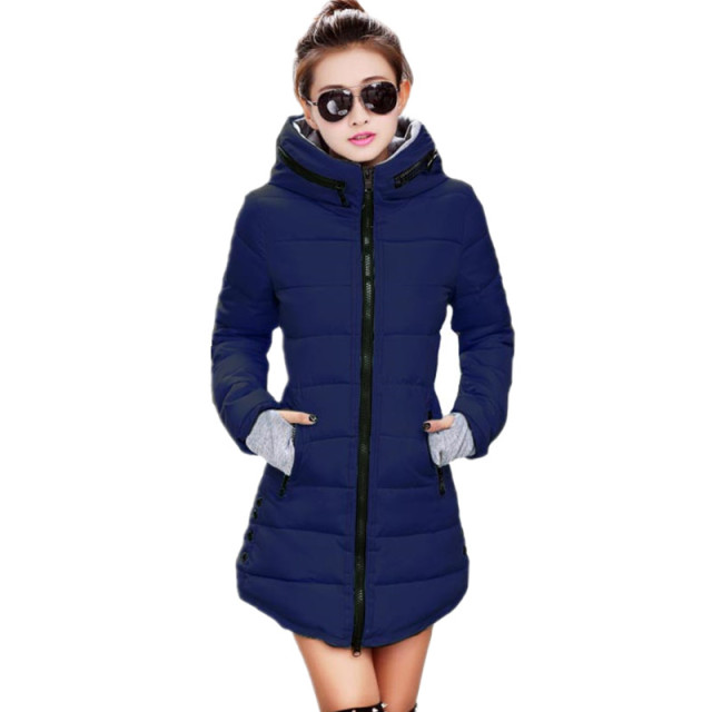 k'raifls Womens Winter Jackets Navy and Black New Long Down Cotton Parka Female Jacket Coat Plus Size Slim Casual Outwear 2017