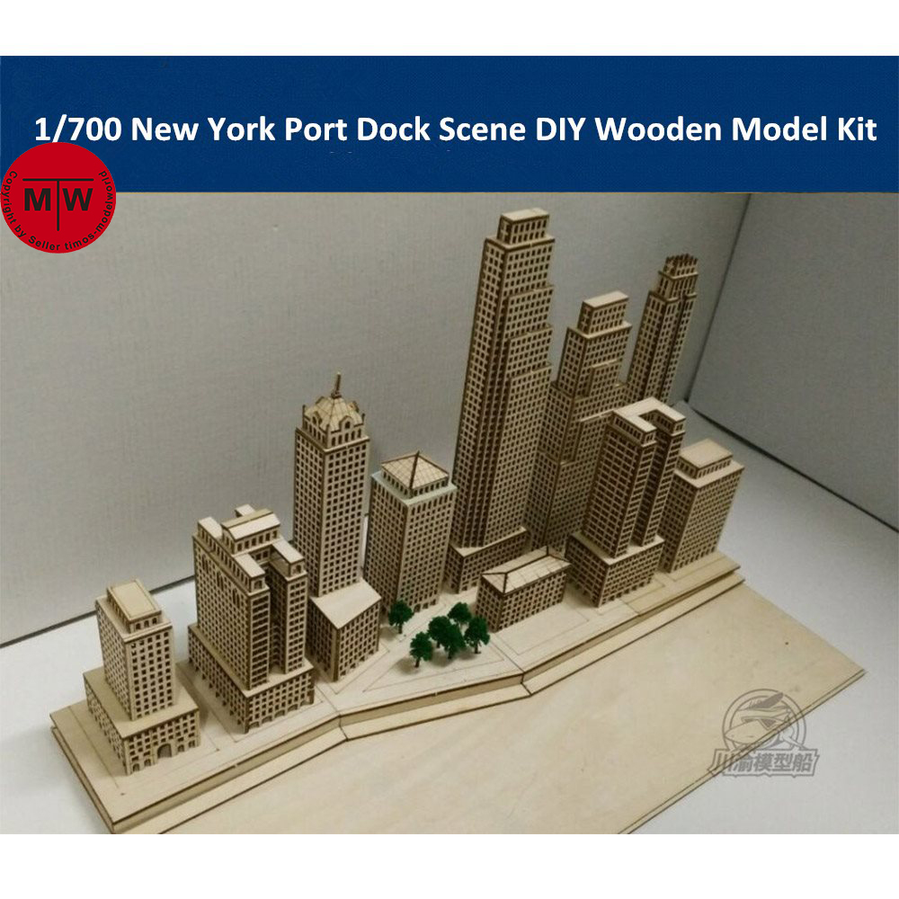 1 700 Scale New York Harbor Port Dockyard Diorama Scene DIY Wooden Assembly Model Kit CY701