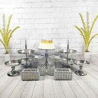 9 11 шт/набор Серебряная Хрустальная подставка для торта зеркальное лицо помадка кекс сладкий стол конфеты бар украшение стола для свадебной