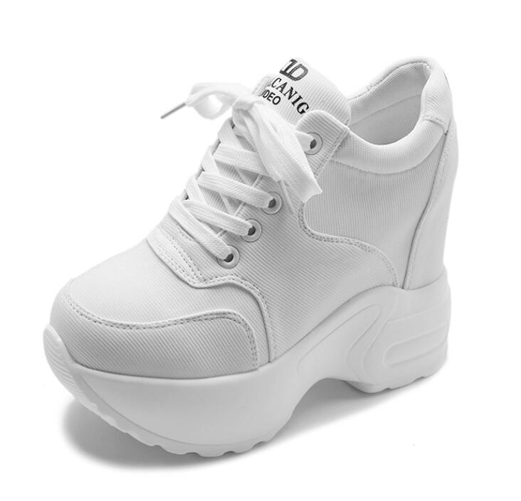 Women Sneakers Mesh Casual Platform Trainers White Shoes 10CM Heels Autumn Wedges Breathable Woman Height Increasing Shoes  8