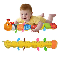 New Baby Plush Toy Musical Caterpillar Rattle With Ring Bell Cute Cartoon Animal Stuffed Doll With
