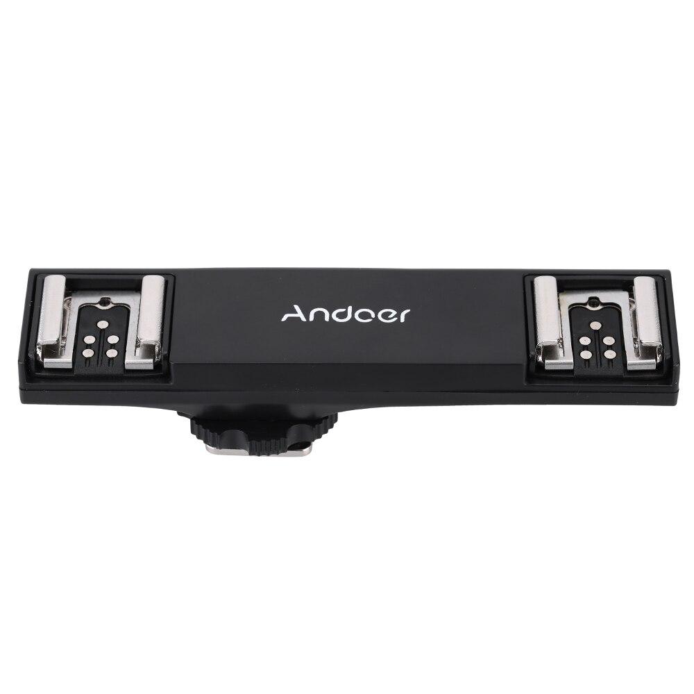 Andoer Dupla Hot Shoe Speedlite Flash Light Bracket Splitter para Canon 70D 7DII 5DRS 5DR 5 5DIII 6D DSLR Camera Camcorder