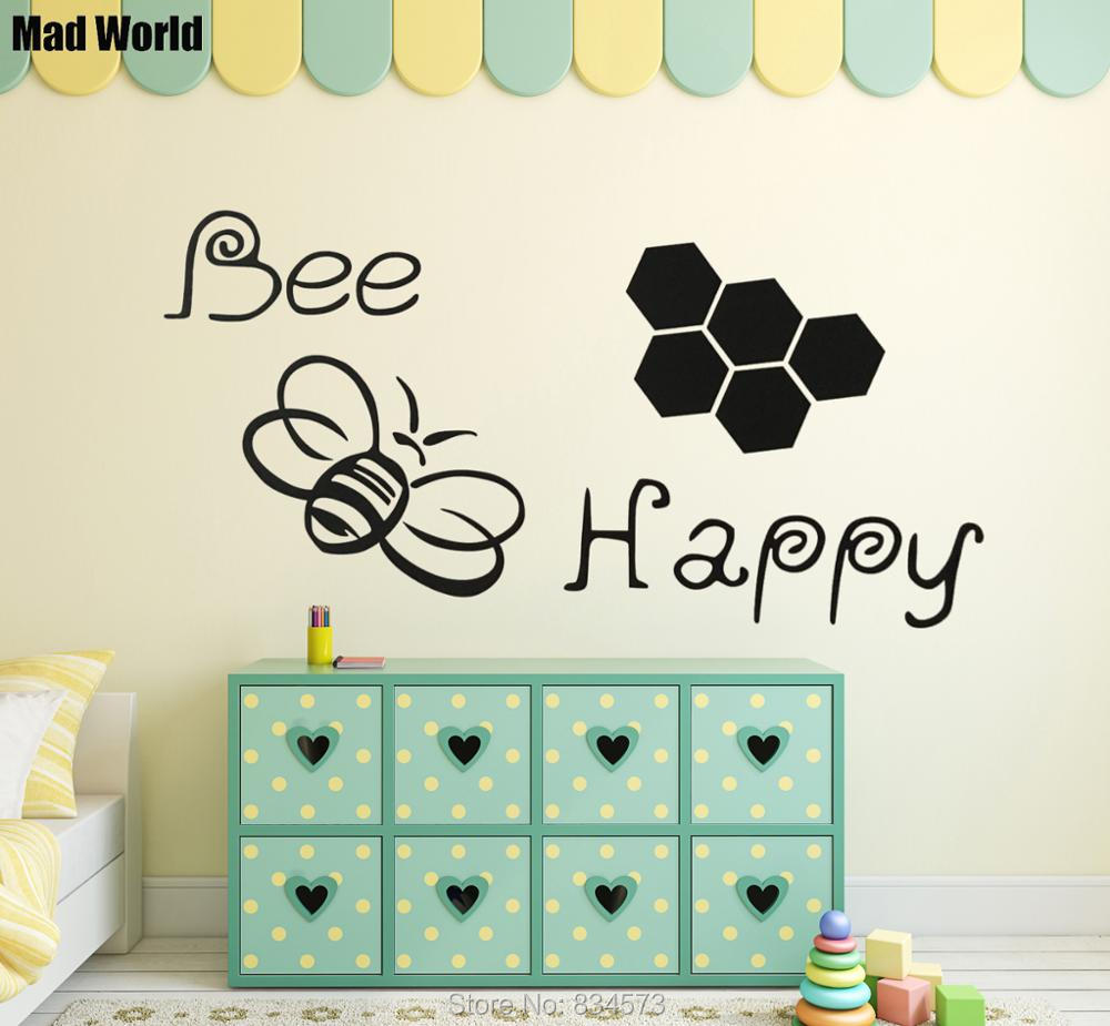 Mad world bee happy bumble bee silhouette wall art stickers wall mad world bee happy bumble bee silhouette wall art stickers wall decal home diy decoration removable room decor wall stickers in wall stickers from home amipublicfo Image collections