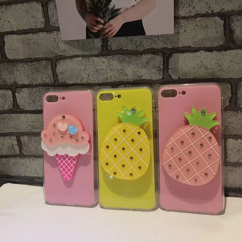 Luxury Feeling Makeup Mirror Case For iPhone 6 6s 7 8 Plus Queen Fruit Pineapple Ice cream Diamond Gem For iPhone X Case cover