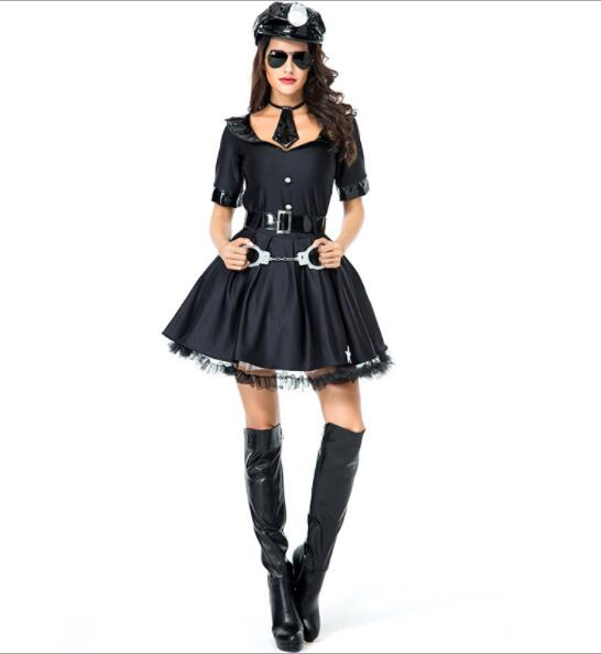 lady  Halloween Officer Policewomen Cosplay Fancy Dress Outfit Women Sexy Erotic Fetish Cop Police Costume short dresses A070