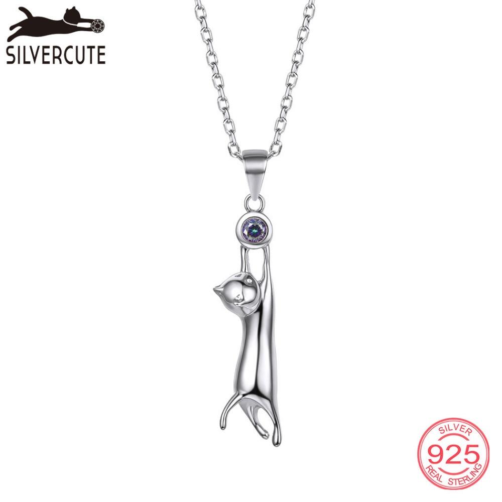 Silvercute Cat Mystic Topaz Վզնոց Կանացի 100% - Նուրբ զարդեր - Լուսանկար 1