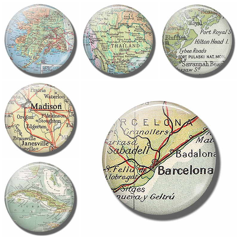 Barcelona Map 30 MM Fridge Magnet Badalona Sabadell Spain Glass