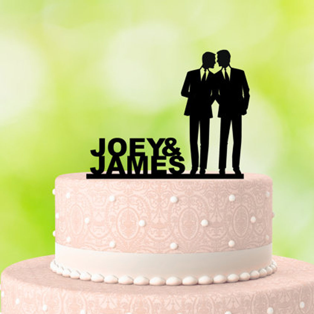 Personalized Wedding Cake Decoration Gay Silhouette Couple