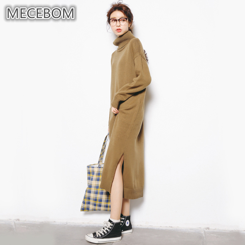 MECEBOM Fashion womens long sweaters winter Turtleneck design sweaters for lady warm comfortable one size women clothing a139 ...