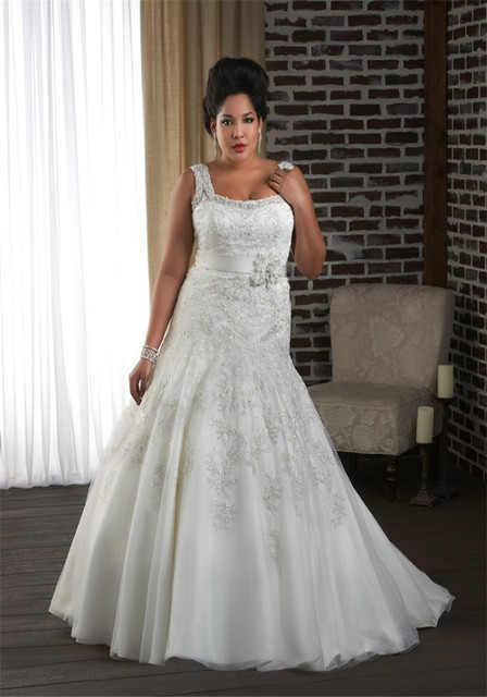 58169931e23 Fit And Flare Big Women Wedding Dress With Straps Lace Embellished Plus  Size Bridal Gown Lace-up Corset