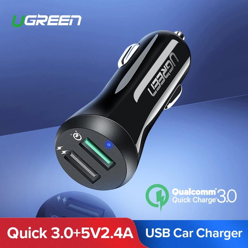 Ugreen del cargador USB del coche de carga rápida 3,0 cargador de teléfono móvil Dual USB rápido QC 3,0 cargador de coche para Samsung Xiaomi cargador de tableta