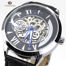 2016 Forsining Marca Espiral Estilo Diseño Dial Mens Relojes de Lujo Superior de Acero Inoxidable Reloj Automático Hombres de Negocios Vestido Reloj