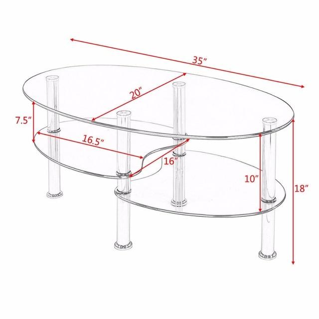 Goplus Tempered Glass Oval Side Coffee Table Shelf Chrome Base Living Room Clear Black Modern Coffee Table HW54317 6