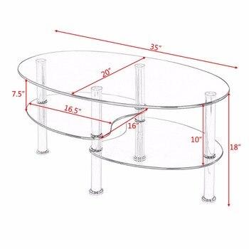 Goplus Temperato Di Vetro Ovale Lato Tavolino Shelf Chrome Base Soggiorno Trasparente Nero Moderno Tavolo Da Caffè HW54317