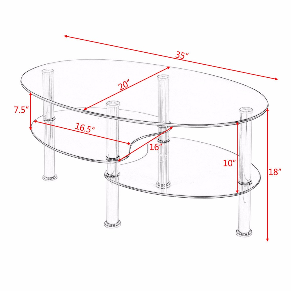 Oval Coffee Table With Shelf.Us 62 99 Goplus Tempered Glass Oval Side Coffee Table Shelf Chrome Base Living Room Clear Black Modern Coffee Table Hw54317 On Aliexpress Com