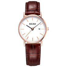 Watchwrist READ Luxury Brand Simple Gentleman Watches For Men Women Brown/Black Leather Strap Date Heren Horloge 2021 Wristwatch ks automatic watch silver white black leather strap date month mechanical men business brand heren horloge wrist watches ks285