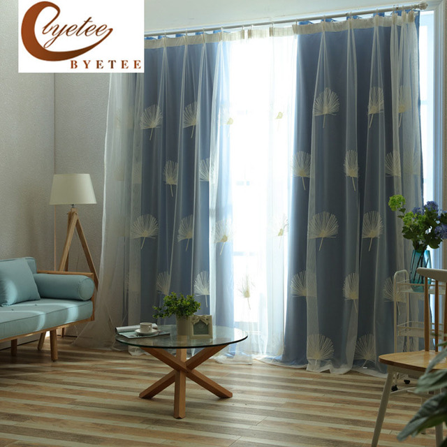 [byetee] Modern Cationic Fresh Romantic Elegant Curtains For Living Room  Bedroom Balcony Solid Blackout
