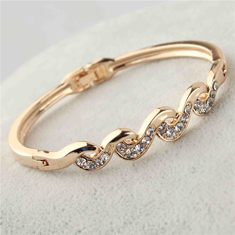 Free shipping Elegant Trendy Women's/Girl's Rose Gold Color Clear Austrian Crystal Twist Bracelets & Bangles Jewelry Gifts