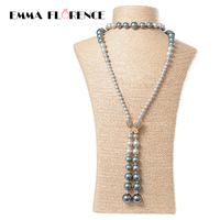 2017 Fashion Pearl Strand Long Necklace Freshwater Shell Beads Gold Color Bee Pendants Necklaces For Women