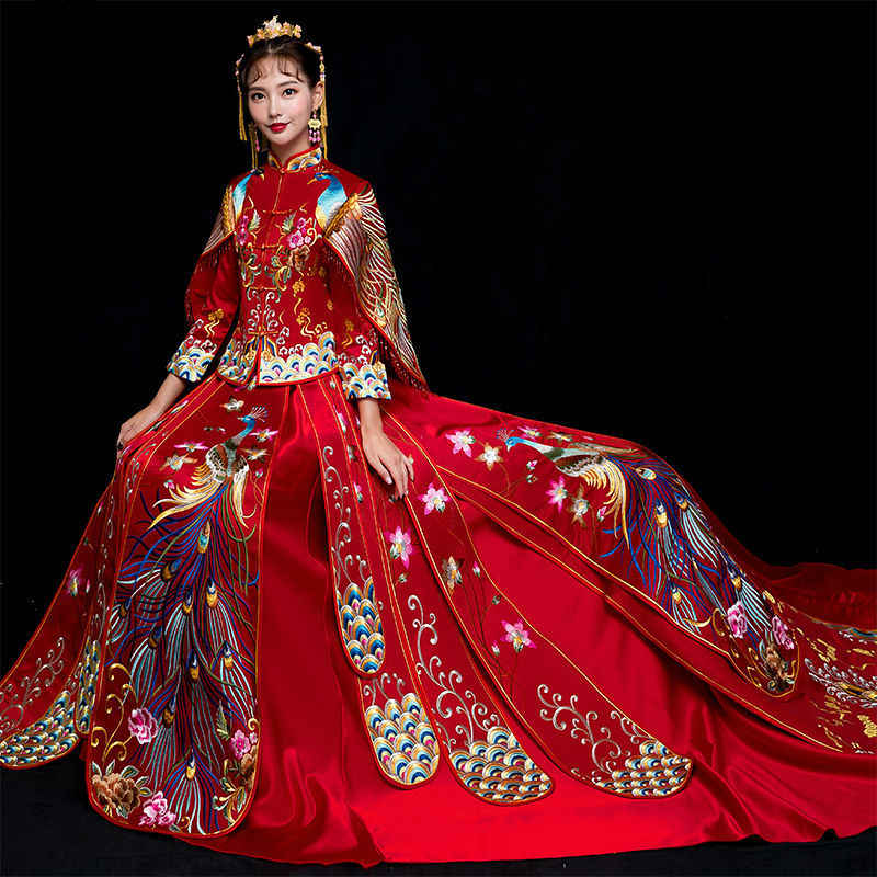 Red Traditional Chinese Wedding Gown 2019 Ladies New Fashion Cheongsam Long Dress Qipao Vestido Oriental Style Dresses