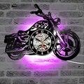 3D настенные часы  светодиодный  светящийся  для мотоцикла  винила  запись  настенные часы  домашний декор  подарок для любителей мотоцикла