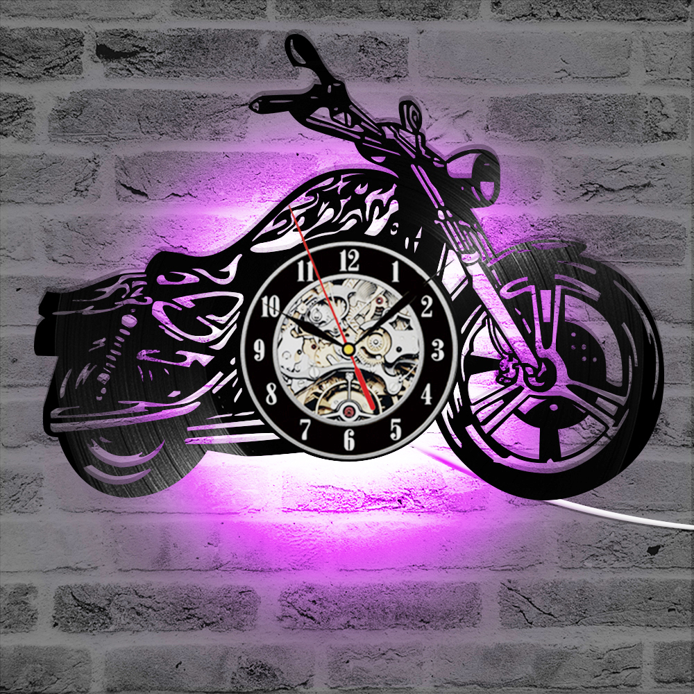 3D Wall Clock With LED Luminous Motorcycle Shape Motorcycle Rider Vinyl Record Clocks Wall Watch Home Decor Motorcycle Fans Gift