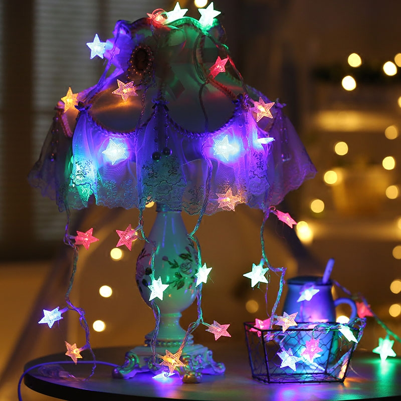 1.5M 20 LED Star Lights String Colorful Holiday lights for Garland Party Wedding Decoration New Year Flasher Fairy Lights 2017