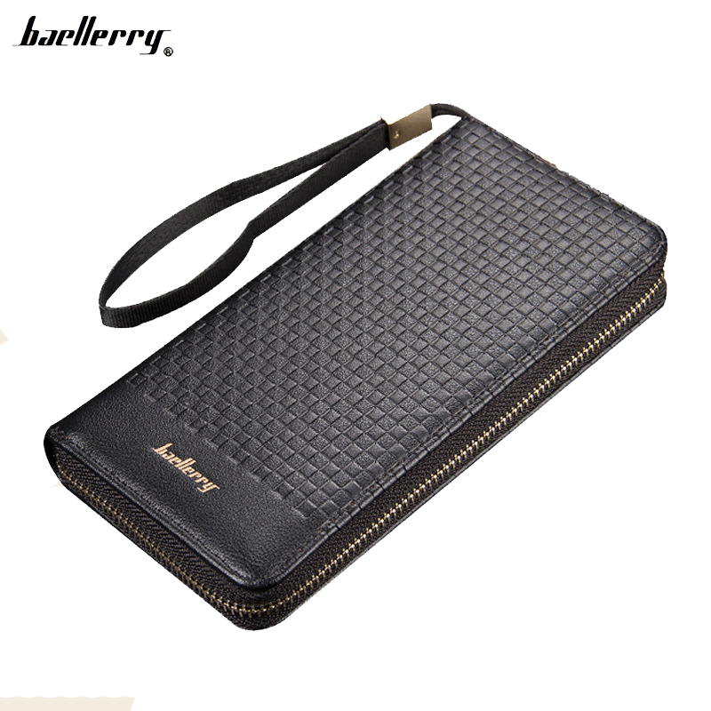 Baellerr New Men Wallets Long Clutch Wallet Famous Brand Hand Bag with Flip Up ID Window Purse Male Money Purses Zipper Coin Bag designer men wallets famous brand men long wallet clutch male money purses wrist strap wallet big capacity phone bag card holder