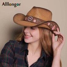 Высокое качество, западный стиль, женская соломенная ковбойская шляпа, летняя, Ретро стиль, элегантная, винтажная, ковбойская, Sombrero Hombre, шапки с вышивкой, солнечные шляпы