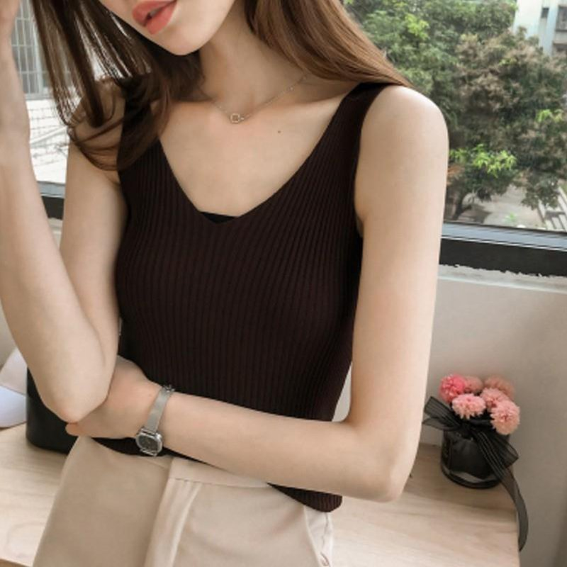 Women Summer sexy   Tank     Top   Sleeveless Sexy V-Neck Solid Knitted vest