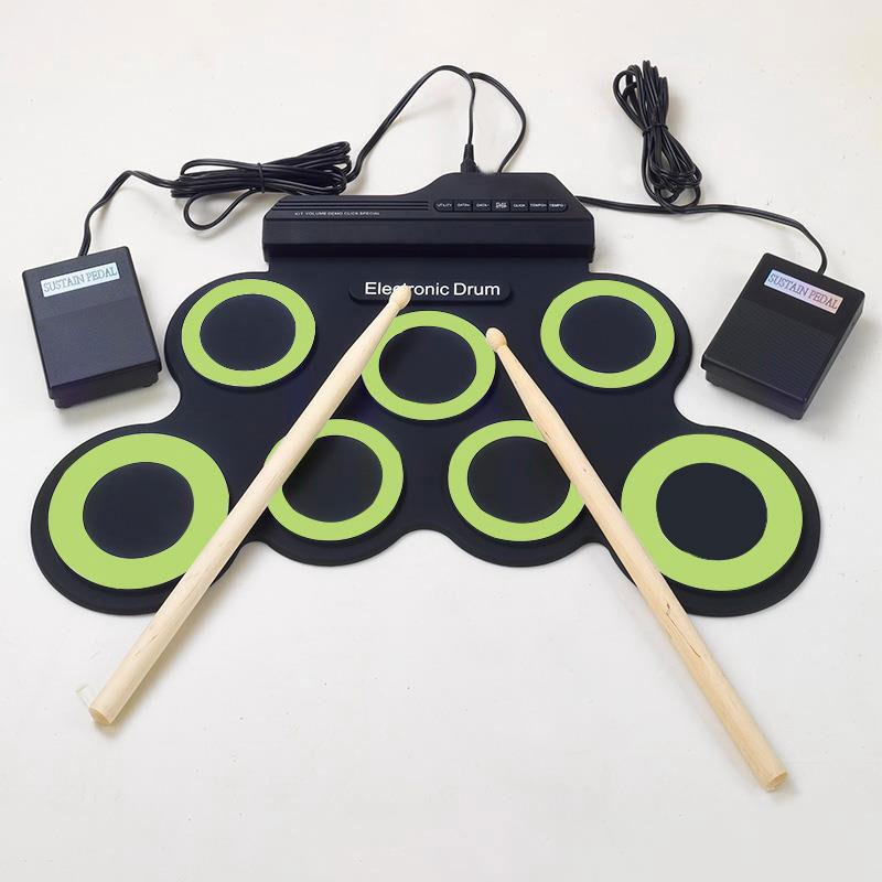foldable silicone electronic drum pad kit with drumsticks foot pedal. Black Bedroom Furniture Sets. Home Design Ideas