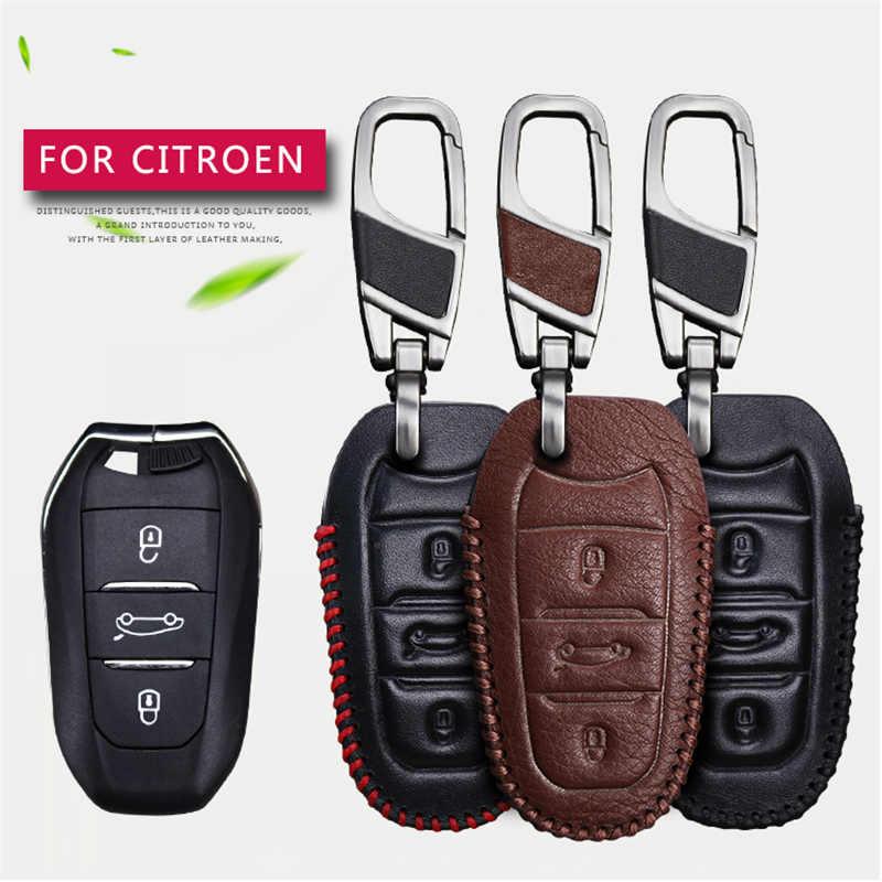 Etui clés de voiture en cuir véritable pour citroën Ds3 C1 C2 C3 C5 C4l C4 Xsara Picasso Berlingo
