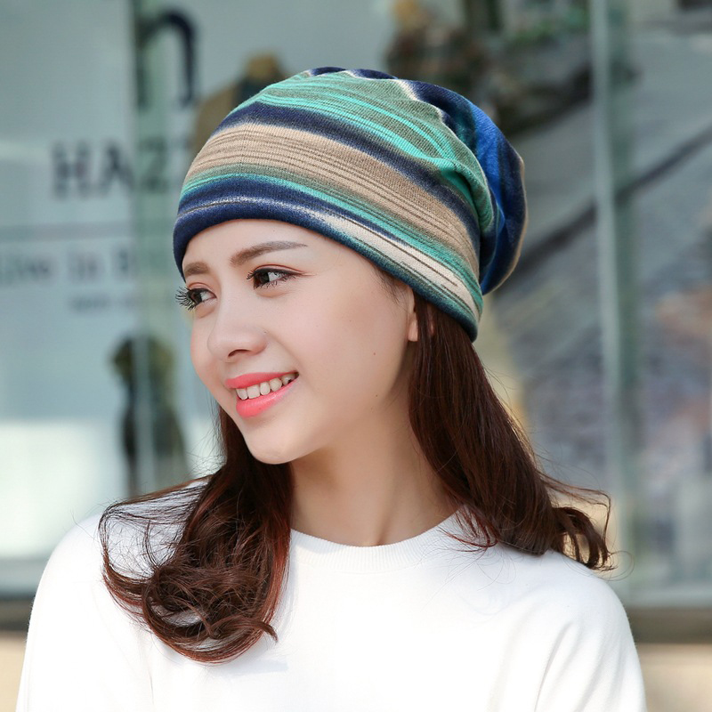 Fashion Ladies Women Female Multifunctional Head Scarf knitted Hat Striped Pile Heap Cap FS0394 animal printing new plus side men and women with the double layer of warm ladies pile heap cap skullies hat knitted hat stripe