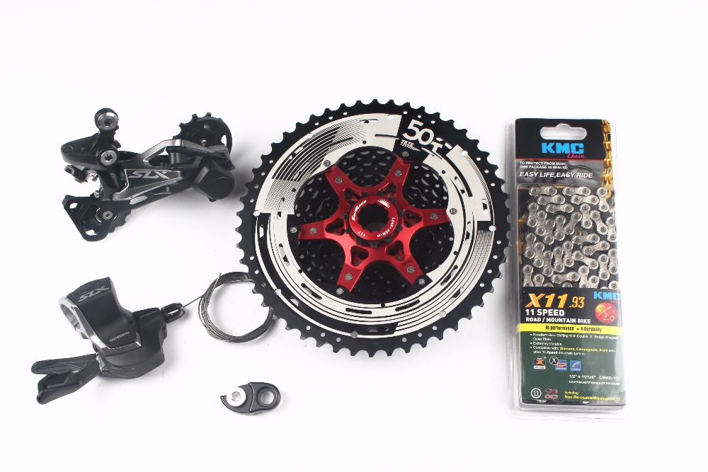 цена на Shimano SLX M7000 4pcs Bike Bicycle MTB 11 Speed Kit Groupset Shifter with SunRace cassette and adapter KMC chain 11-46T 11-50T