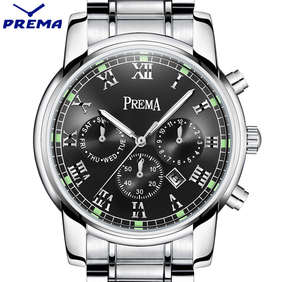 neos brand genuine watch men s stainless steel straps simple business fashion waterproof quartz fashion men s watch Original PREMA Business Men Watch Top Famous Brand Luxury Fashion Black Quartz Male Waterproof Clock Stainless Steel Wrist watch