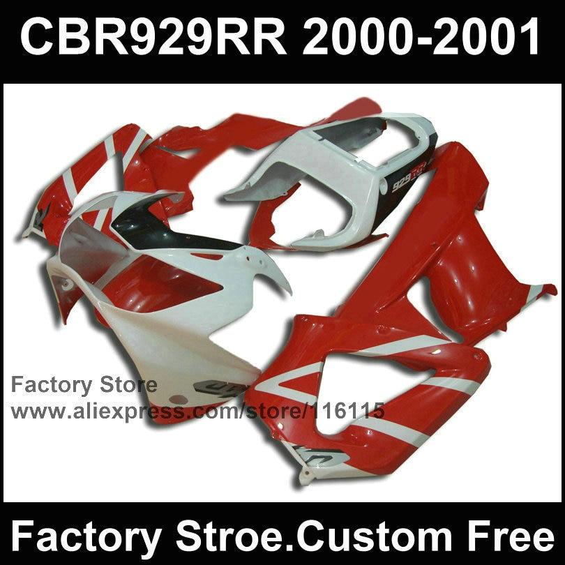 Custom ABS plastic Motorcycle fairing parts for HONDA CBR 929 fairings 2000 2001 CBR900RR white red
