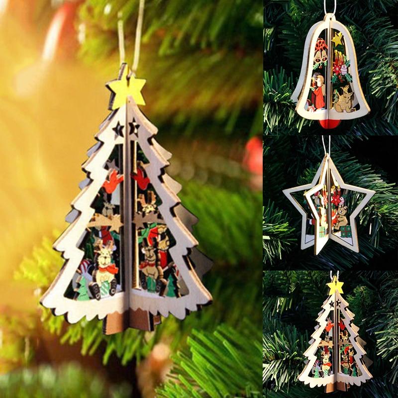 1 adet noel ağacı süsler asılı noel ağacı ev parti dekor DIY 3D kolye ahşap noel kolye dekorasyon ev için D