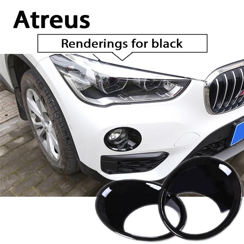 Atrée 2 pcs Voiture ABS Chrome Avant Brouillard lampe décoration garniture couvre autocollant Pour BMW X5 F15 2014-2017X1 2009 2010 2011 2012 2016