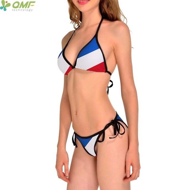 8553dd0277 Drapeau De La France Ensembles de Bikini Brésilien Biquini Bandage 3  Rayures Drapeau National Français Femmes