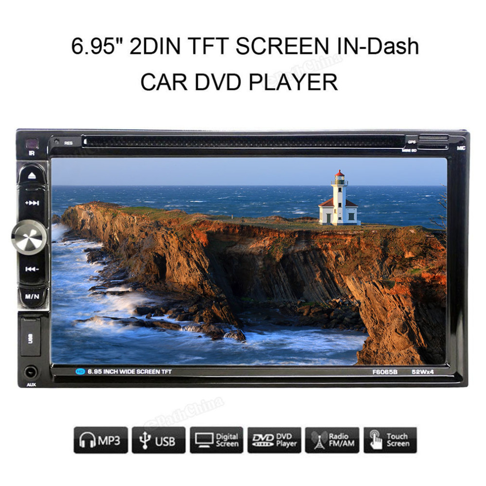 2017 New F6065B 7inch Dual 2Din 800 * 480 Stereo Radio DVD Player Auto AM/FM Audio USB Bluetooth Radio For Car No Android System автомобильный dvd плеер joyous kd 7 800 480 2 din 4 4 gps navi toyota rav4 4 4 dvd dual core rds wifi 3g