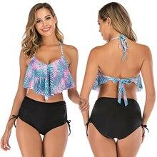 Ruffle Bikini Sets Women High Waist Swimsuit 2019 Mujer Halter Push Up Swimwear Female Laced Bottom Bathing Suit S-XL