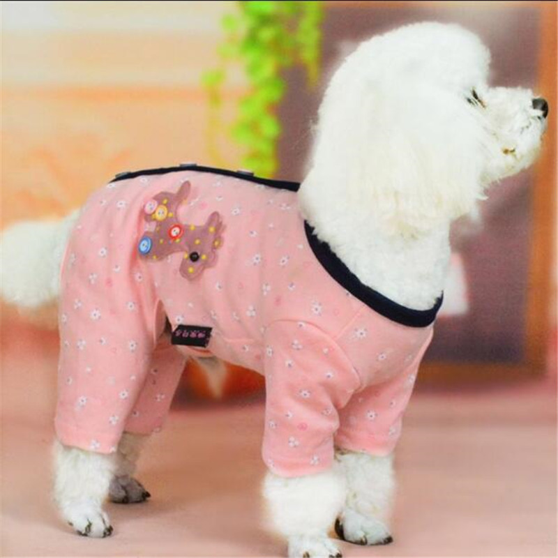OnnPnnQ Cute Print Pattern Dog Pajamas Puppy Clothes Comfortable Cotton Small Dog Jumpsuit Suit Pet Cat gray Pink XS S M L XL