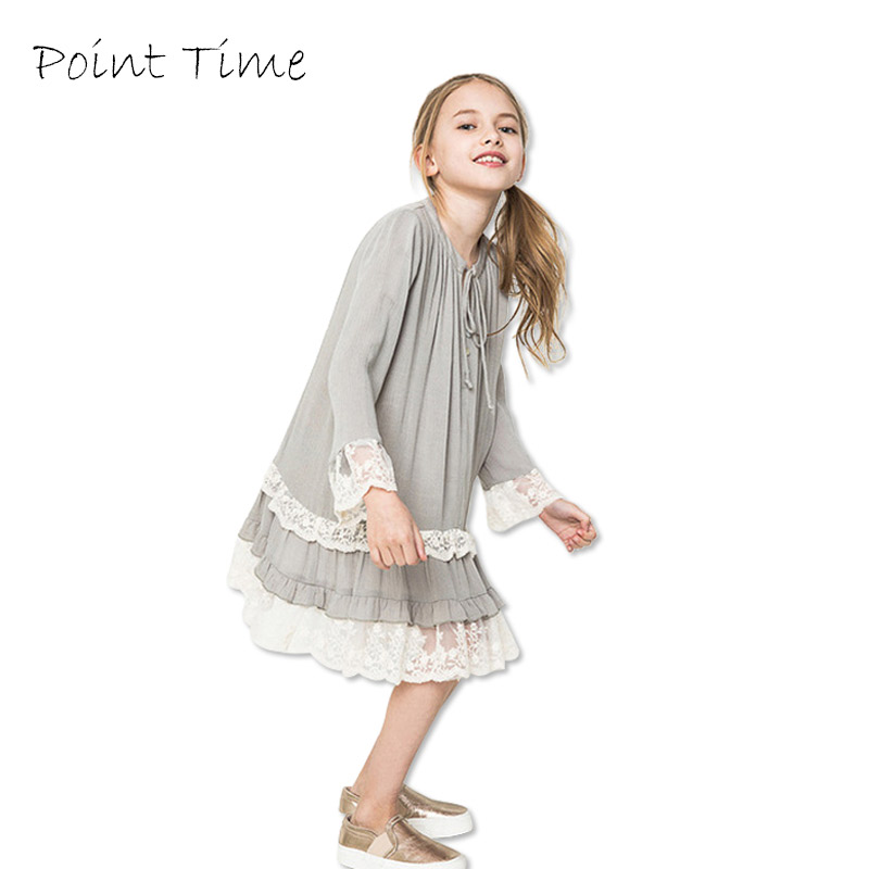 Girls Lace Dresses 100% Cotton Kids Party Clothing Costume Dress for Teenage Girls Clothes 7-14 Years 2017 Spring&Summer Dress bohemia teenage girls dress summer 7 9 11 years costumes spring children clothing kids clothes girls party frocks designs hb3028