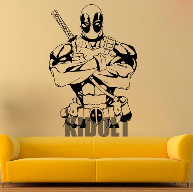 Deadpool vinyl wall decals stickers superhero poster for Wallpaper decals
