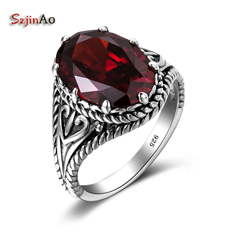 Szjinao Turkey Jewelry Product Red Stone Vintage Big Rings For Women 925 Sterling Silver Jewelry Mosaic Crystal Wholesale