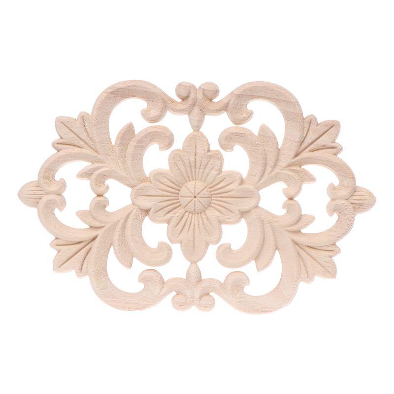 Natural Wooden Carved Flower Corner Onlay Applique Furniture Home Art Decor Wood