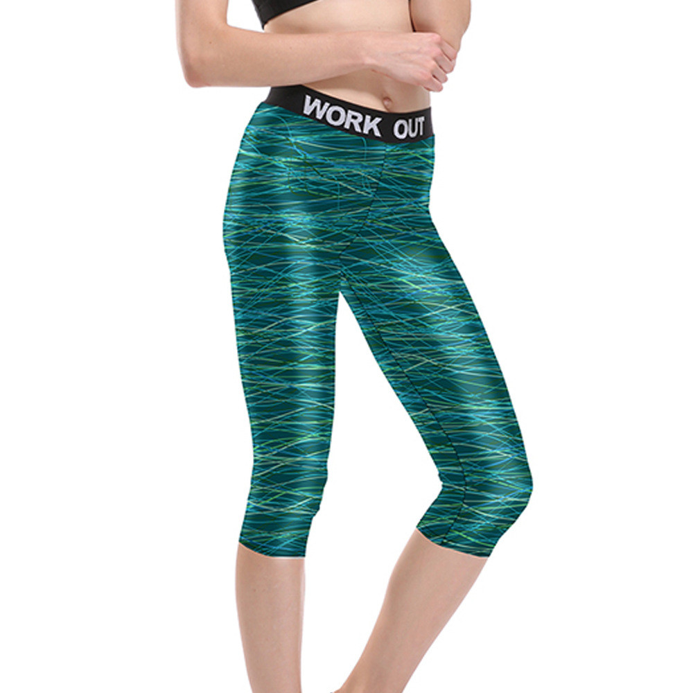 Women Multicolor Line on Teal Fitness Quick Dry Workout Leggings Unisex High Waist Knee Length Aerobic Exercise Pant Full Size