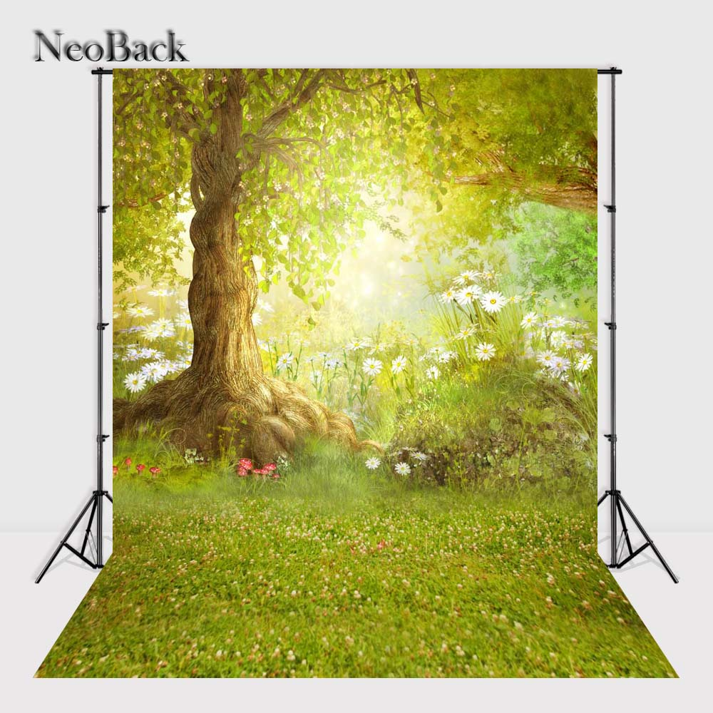 NeoBack 3x5ft Fairy Tale Flower Newborn Baby Photo Backgrounds Printed Children Kids Photographic Backdrops Photo Studio P2410 fairy tale arch printed newborn baby photo backdrops art fabric backdrop for studio children photography backgrounds d 9822
