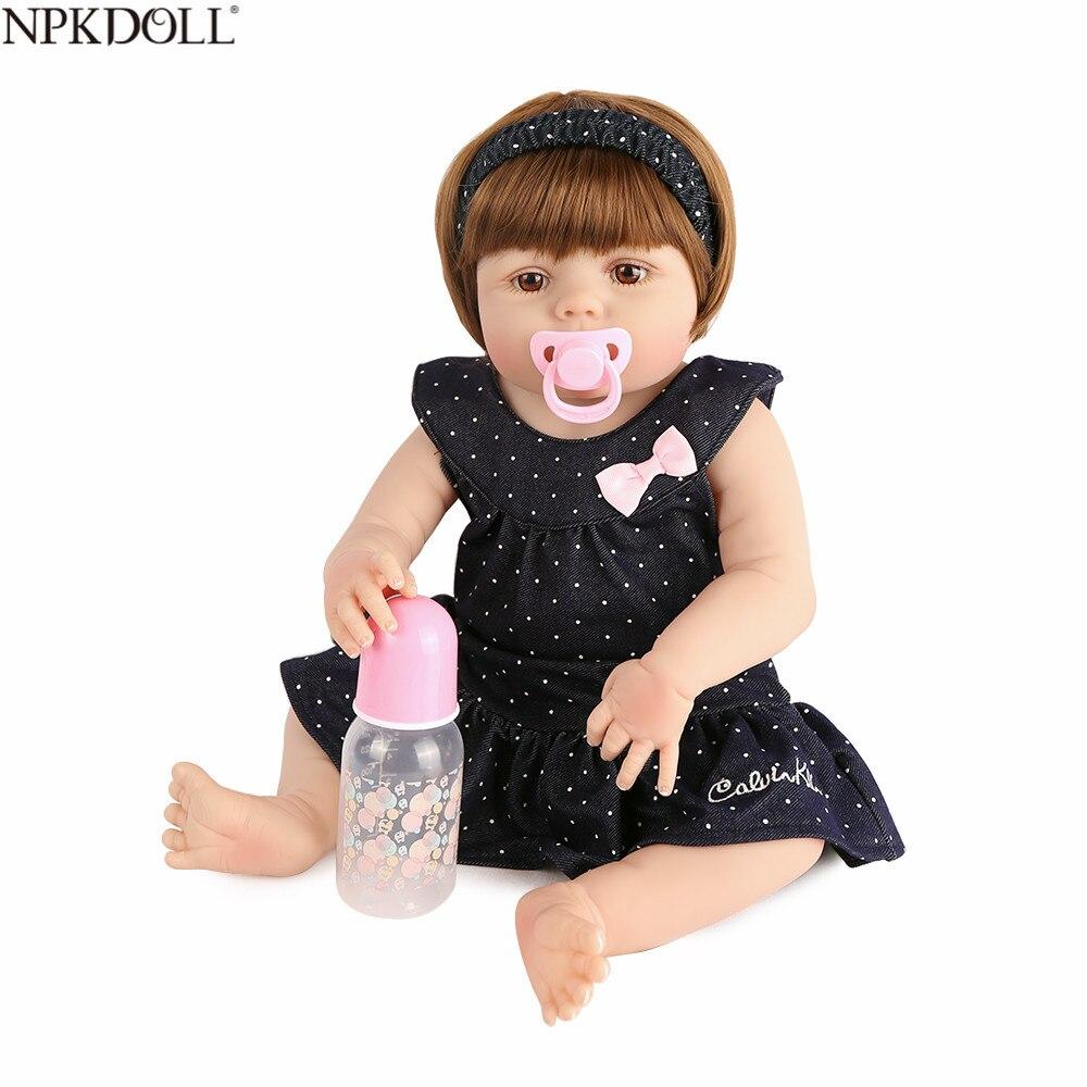 NPKDOLL Volle Silikon 22 zoll 55 cm Reborn Baby Puppen Lebensechte Realistische Kid Boneca Mode Spielzeug Grils Puppen Bebe Reborn menina-in Puppen aus Spielzeug und Hobbys bei  Gruppe 1