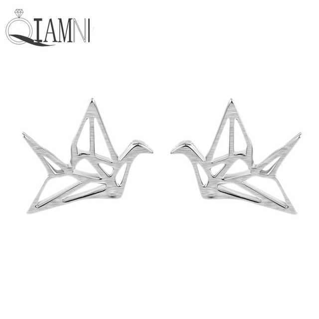 Qiamni 925 Sterling Silver Cute Origami Cranes Animal Stud Earring Women Peace Dove Wedding